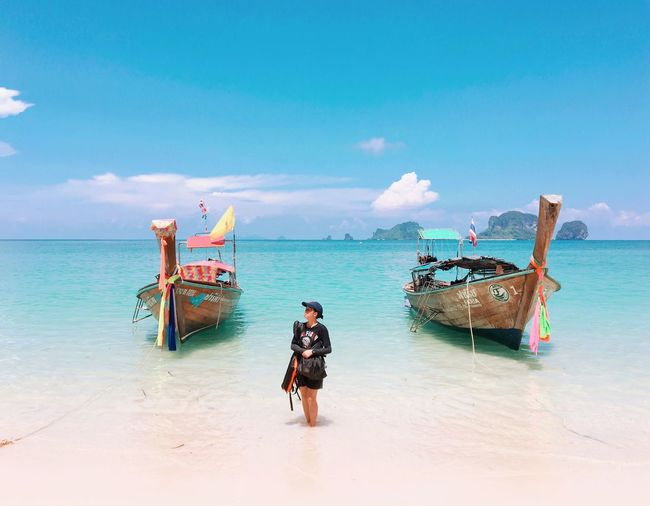 Sea Water Sky Transportation Land Beach Nautical Vessel Real People Mode Of Transportation Beauty In Nature Horizon Horizon Over Water Nature Scenics - Nature One Person Lifestyles Cloud - Sky Day Full Length Outdoors