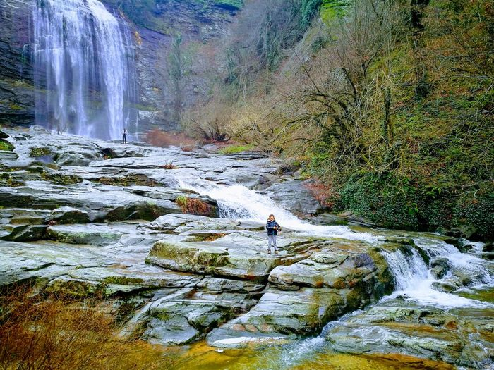 Water Men Waterfall Countryside River Flowing Water