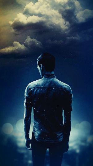 One Person Men Night Cloud - Sky Young Adult Montage Photography