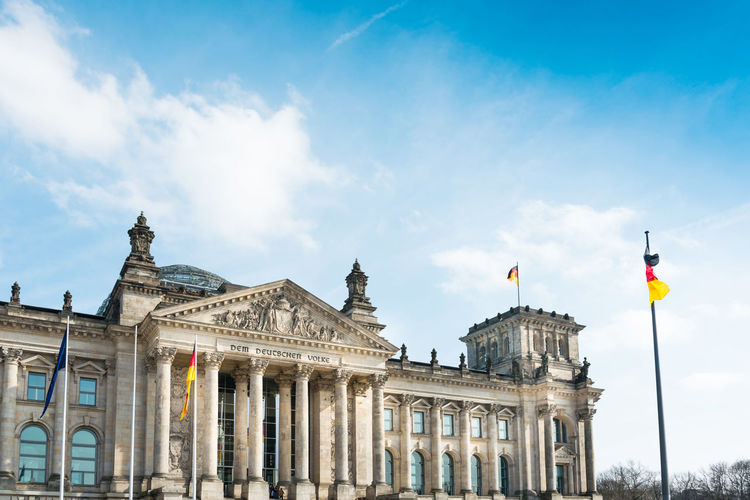 Low Angle View Of The Reichstag Against Sky In City