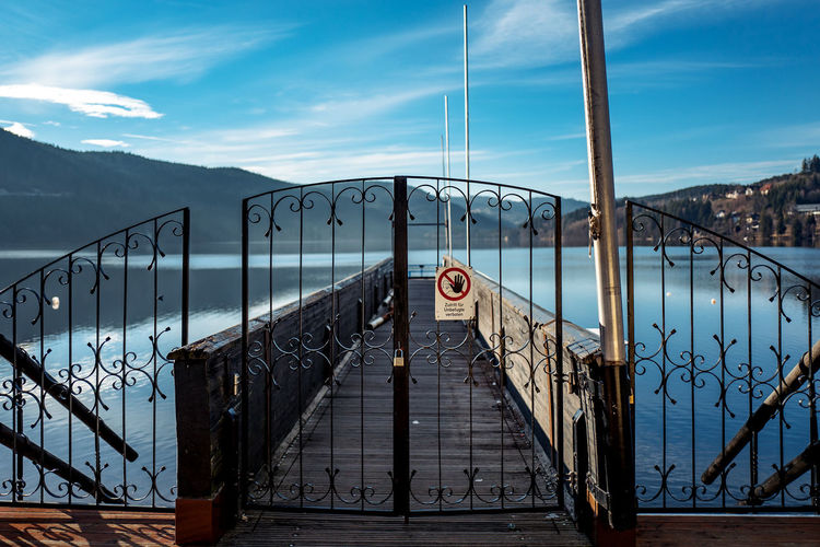 Closed gate of pier over titisee