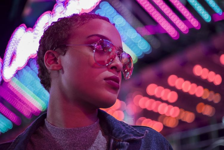 Night Lights Retro Headshot Illuminated Lifestyles Lightskin Multi Colored Neon Neon Life Neon Lights Neonlights Night Nightlife Portrait Roller Coaster EyeEmNewHere Editor's Picks