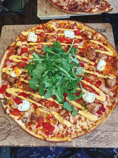 ChickenPizza PeriPeriChicken Pizza No People Garnish Italian Food Temptation High Angle View Wellbeing Table Vegetable Still Life Directly Above Meal Leaf Herb