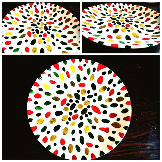 """""""Seeds"""" Porcelain, Mosaic, Pieces, Broken, Design, Art, Decoration, Style, Vintage, Traditional, Creativity, Ceramic, Cracked, Porcelain  Handmade Tableware HandPainted Colourfull Red Reddish Table Directly Above Close-up Palette Painter - Artist Acrylic Painting Paintbrush"""