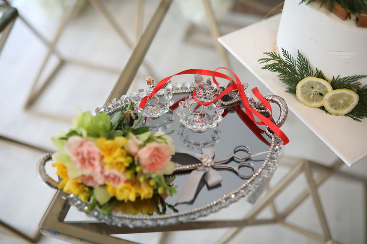 High angle view of roses in plate on table