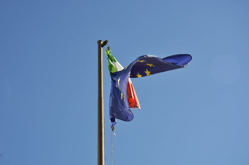 Blue Clear Sky Copy Space Day European Flag Flags Italian Flag Low Angle View Wind