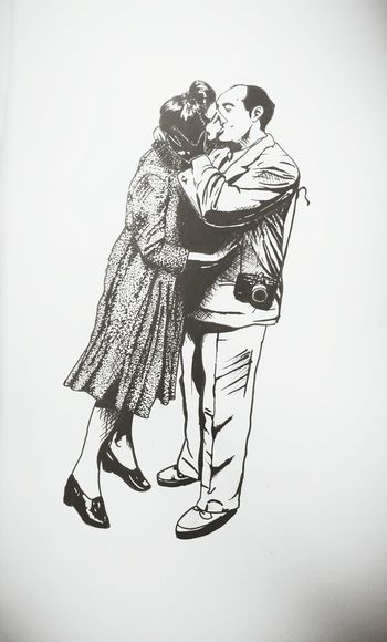 1945 Kiss Drawing Art Black And White the background will be in colour