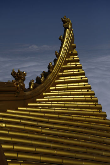 Above The Clouds Ancient Architecture Built Structure Chineese Chinese Culture City Clouds Cultures Day Gold Gold Colored History No People Outdoors Place Of Worship Religion Roof Royalty Sculpture Sky Statue Tradition Travel Paint The Town Yellow