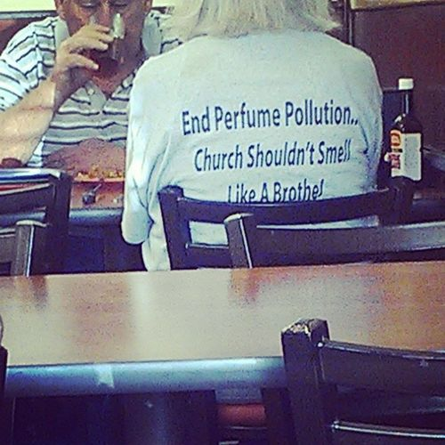 This lady came into Goldencorral with a breathing respirator/gas mask and this shirt... What church she go to???