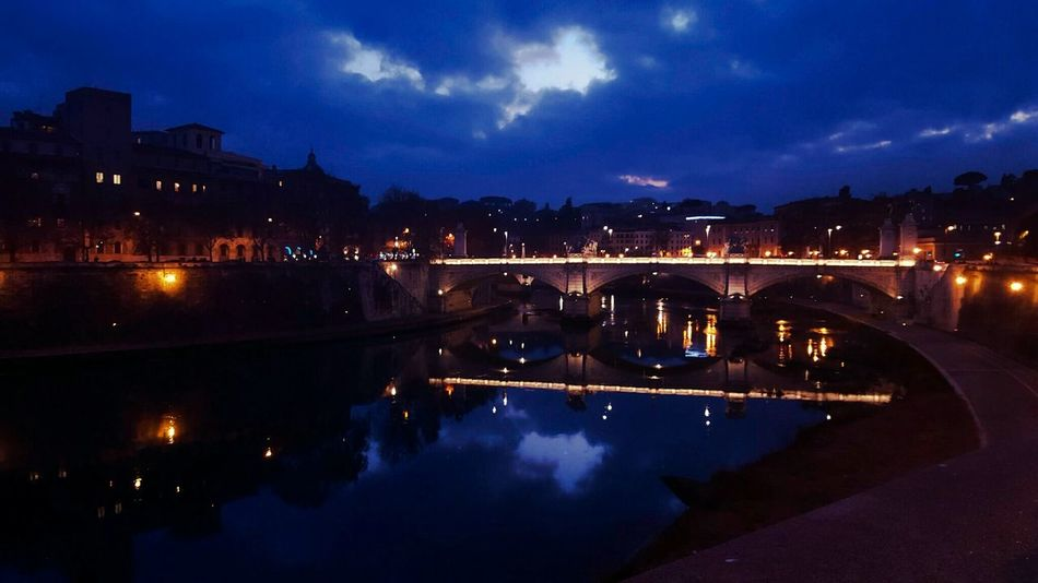 Rome Roma Beautiful Tevere Tevere River Bridge Pontevittorioemanuele Italy Italia Reflection Water Reflections Night Romebynight Photooftheday Picoftheday Galaxys6 Igersitalia Igersroma Panorama Cloud Romantic