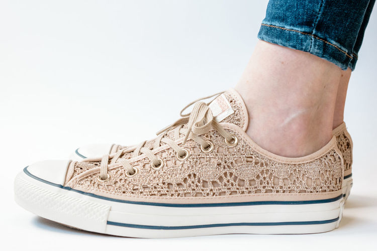 Casual Close-up Day Fashion Fashion Fashionblogger Fashionista Indoors  Lace Lace Sneakers Low Section No People One Person Real People Shoe Photography Shoes Sneakers Sneakers Addict Studio Shot Style White Background Out Of The Box