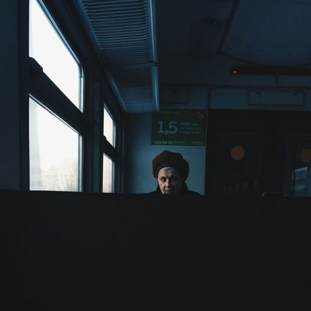 Old woman in a train One Person Window Spicollective VSCO Vscocam Street Streetphotography Train Light Loneliness Spicollective Woman Welcome To Black