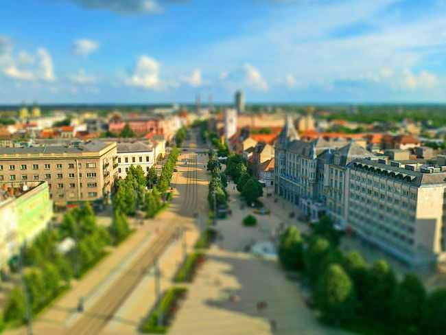 Debrecen Cityscape Square View From Up Above View Tilt Shift Mock-up