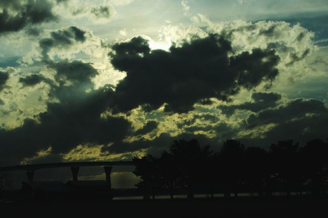 Silhouette Tree Sunset Sky Cloud Cloud - Sky Cloudscape Tranquil Scene Cloudy Storm Cloud Tranquility Scenics Outline Majestic Calm Dark Outdoors Beauty In Nature Nature Moody Sky