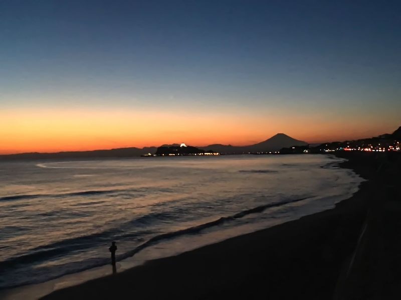 Mtfuji Sunset Sea Water Beach Beauty In Nature Nature Outdoors Sky Clear Sky Day Mountain Silhouette
