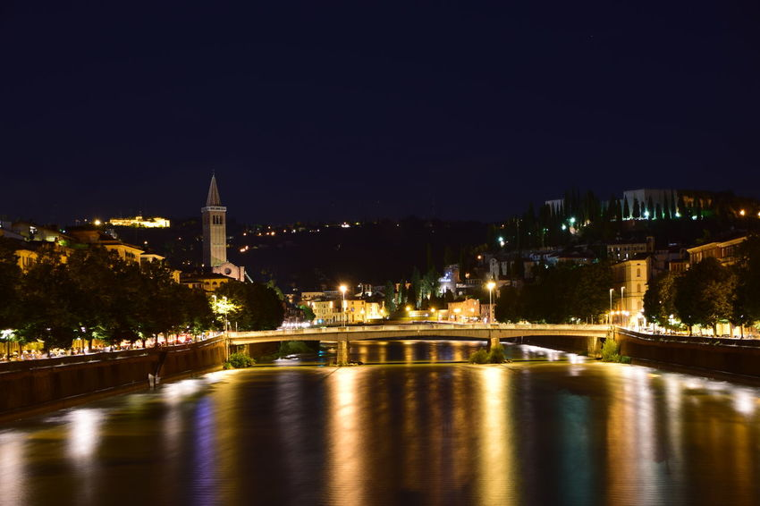 Night Illuminated City Travel Destinations Reflection Cityscape Water Architecture Sky No People Outdoors Tree Bridge - Man Made Structure Vacations Verona