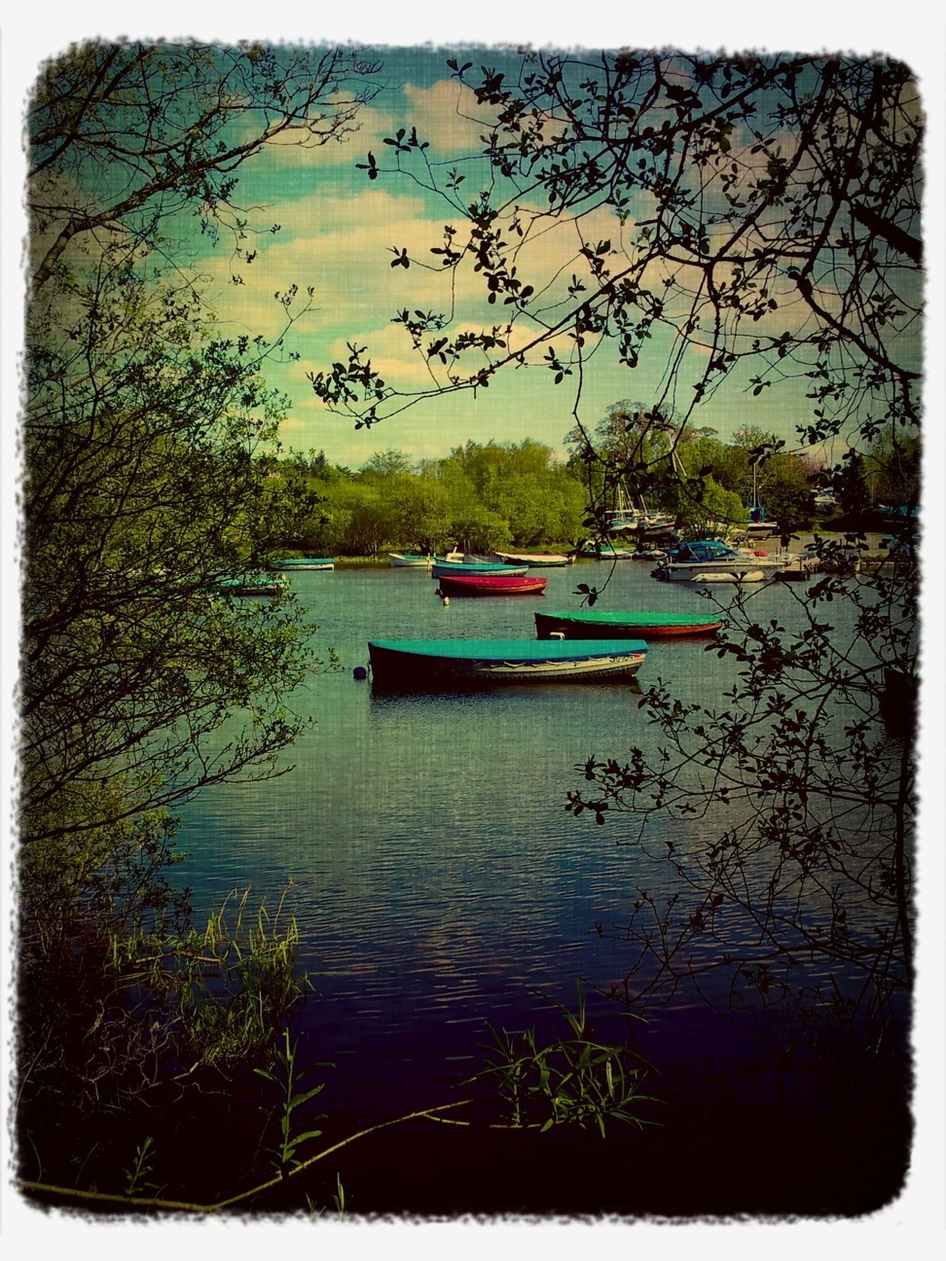 transfer print, nautical vessel, water, boat, auto post production filter, transportation, mode of transport, moored, tree, tranquility, tranquil scene, lake, nature, scenics, sky, beauty in nature, river, sea, waterfront, day