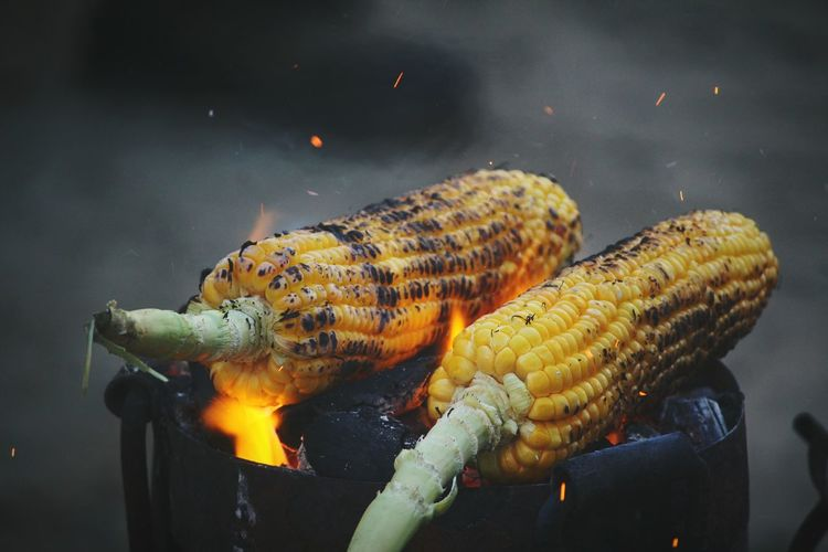 corn on fire Corn Focus On Foreground Foodporn BBQ Beach Food And Drink Fireplace Fire Flame Barbecue Firewood Yellow No People Food Indoors  Day Food Stories Fresh On Market 2018 Business Stories