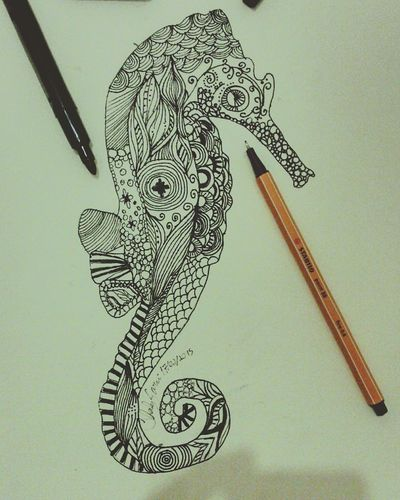 Mandala Art Sketch Drawing Seahorse Blackandwhite Tatoo
