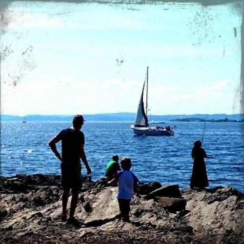 Fantastisk tidlig sommerdag i Oslo. Og fortsatt snakker vi bare april dere. Bygd øyParadisbukta V årioslo