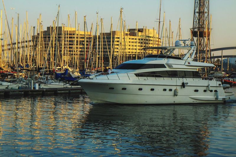 Barcelona Marina ....... Nautical Vessel Transportation Mode Of Transport Moored Water Mast Harbor Travel Outdoors Lifestyles Sailboat Boat Waterfront Built Structure City Sky Travel Destinations Yacht Sea Day Canonphotography Canon Eyeemphotography Eye4photography  Marina