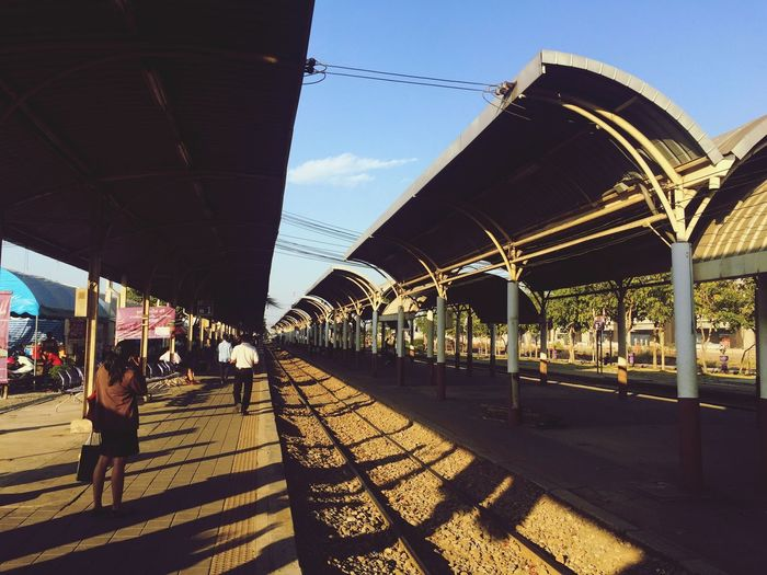 Wait for the train Transportation Outdoors Train Station Platform Afternoon Coming BangSue Railway Track Bangkok Thailand Happy Trip