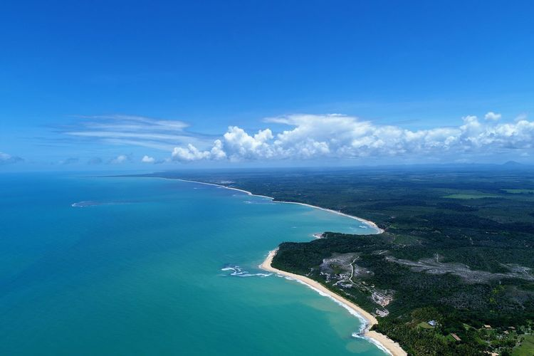 Aerial view of trancoso beach, bahia, brazil