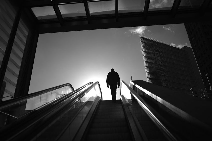 Stairway Berlin Hope Transportation Traveling Daylight Direction Escalator Germany Low Angle View Monochrome Moving Up One Person Potsdamer Platz Railway Station Staircase Steps And Staircases The Way Forward Travel Destinations