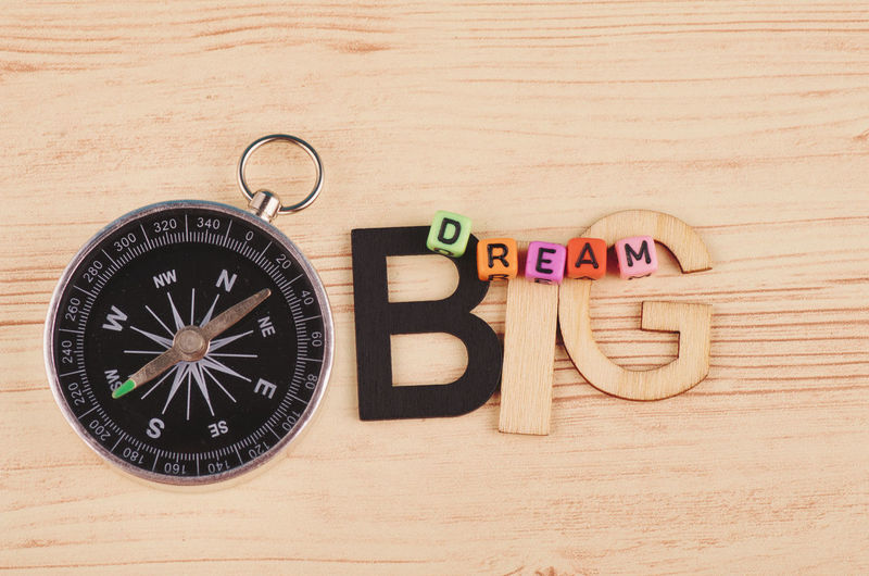 colorful cubes with words DREAM BIG on wooden desk Still Life Text Table Western Script Wood - Material Indoors  Communication Capital Letter Close-up No People Guidance Alphabet Direction High Angle View Letter Directly Above Accuracy Number Toy Shape