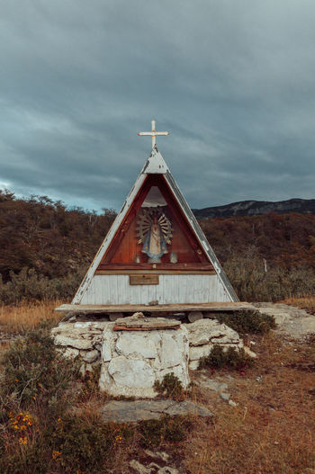 Catholic Cross Nature Shrine Tierra Del Fuego Travel Wanderlust Architecture Argentina Cloud - Sky Day Nature No People Outdoors Sky Travel Destinations Triangle Triangle Shape