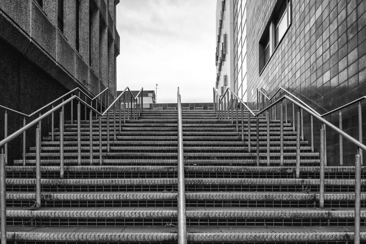 City Architecture Blackandwhite Building Exterior Low Angle View Monochrome No People Railing Staircase Stairs Steps Steps And Staircases