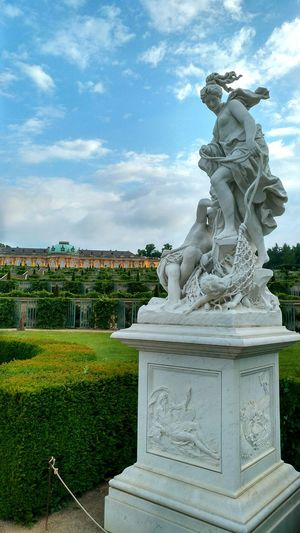 Statue Sculpture Sky Cloud - Sky Taking A Trip Looking Around Park Sanssouci Early In The Morning