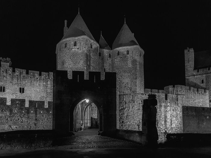 Carcassonne Carcassonne City MedievalTown Night Photography Arch Architecture Black And White Black And White Photography Building Exterior Built Structure Castle History Medieval Architecture Monochrome Photography Night Old Ruin Outdoors The Past Travel Destinations