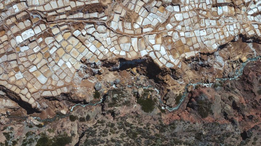 Peruvian Salt Mines Aerial Aerial View DJI X Eyeem Peru South America Mountain Salt Mine Industry Industrial River Backgrounds Full Frame Textured  Pattern This Is Latin America
