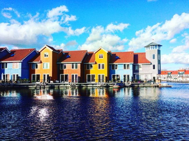 Architecture Row House Waterfront Reflection Water Reflections Reitdiep Groningen Netherlands IPhoneography