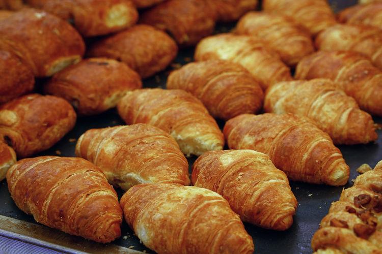 Full frame shot of croissants for sale