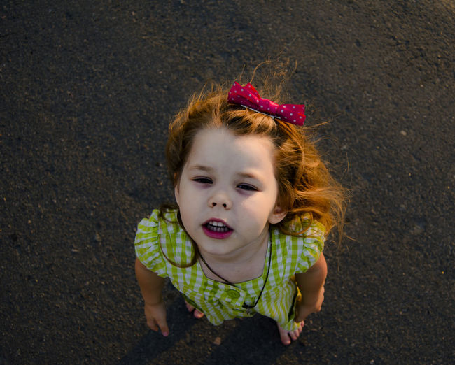 Portrait Girl Girl Portrait High Angle View Face View From My Point Of View Cute Summertime Summer Portrait barefoot Lifestyles Child Childhood Asphalt Dress Girl Dress Summer Dress Summer Clothes EyeEm Selects Looking
