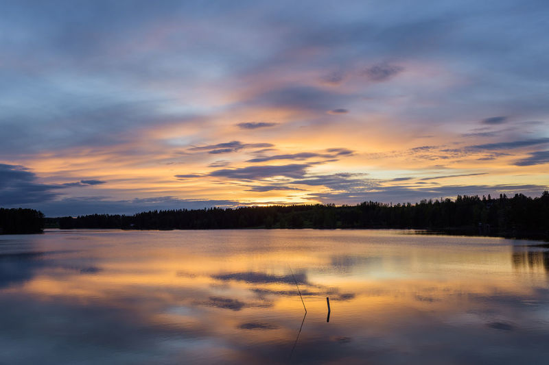 Reflection of clouds in lake during sunset