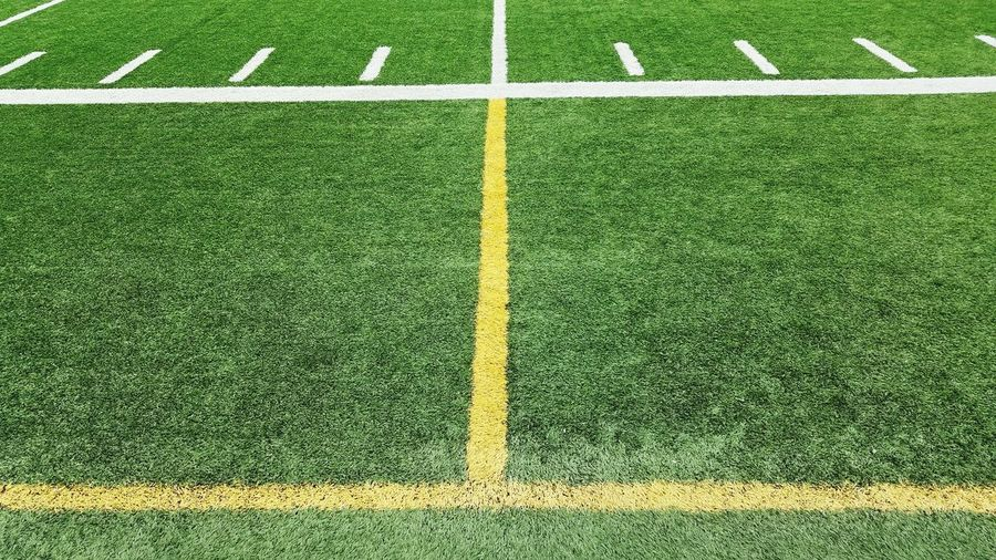 View of green foorball field
