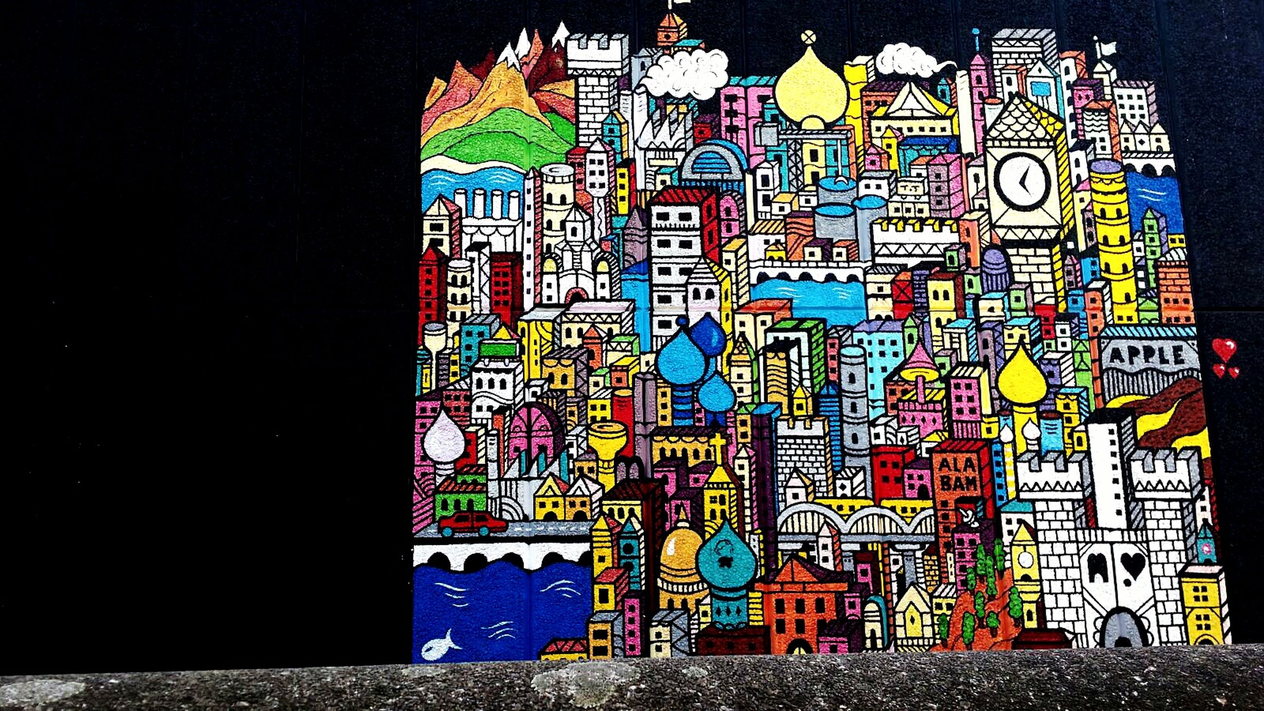 multi colored, creativity, art, art and craft, pattern, colorful, blue, architecture, built structure, design, wall - building feature, indoors, graffiti, illuminated, no people, building exterior, decoration, craft, night, shape