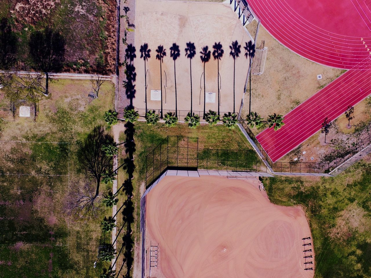 Aerial view of sports ground