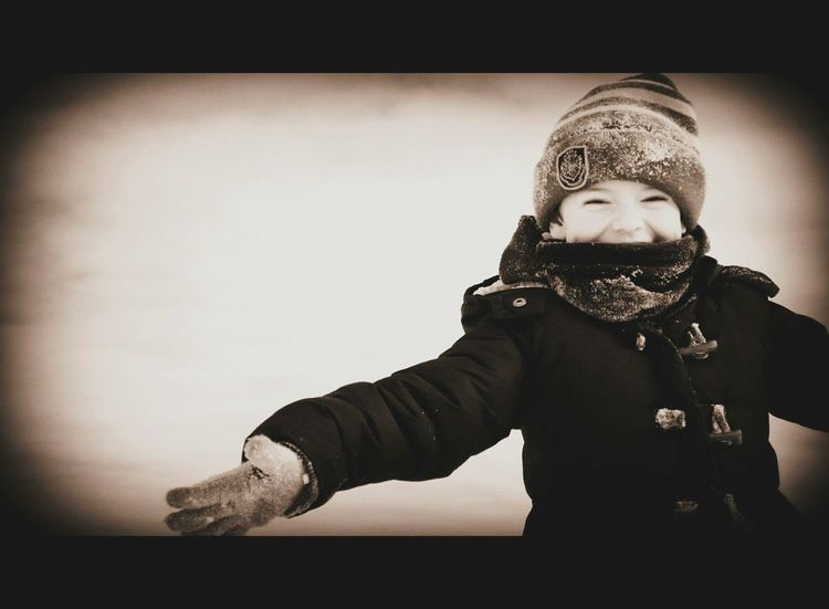 Happy Child Photography Boy Smile One Person Cold Temperature Warm Clothing Looking At Camera Sepia Openarms Joy Innocence The Portraitist - 2017 EyeEm Awards
