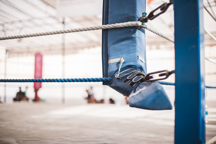 The corner. Focus On Foreground Day Hanging Rope Connection Outdoors Close-up Metal Selective Focus Protection Security Safety Lock Architecture Boxing Ring Sports Empty