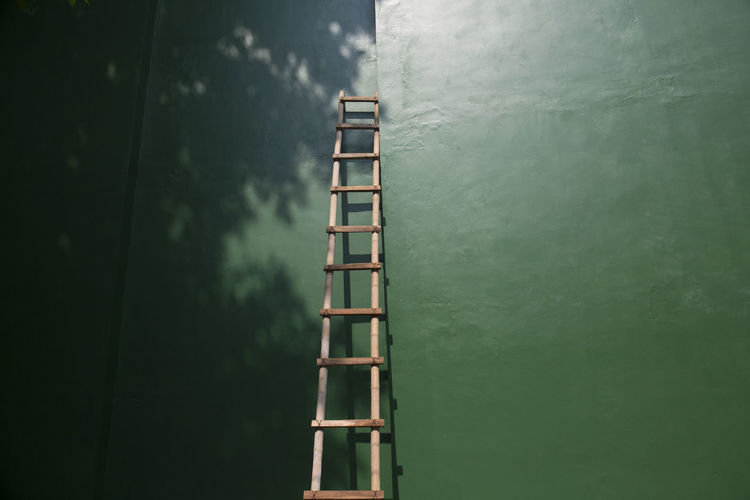 Ladder on Green Background Architecture Day Built Structure Wood - Material No People Ladder Copy Space Green Color Outdoors Plant Shadow Consept Career Top Photography Color Image