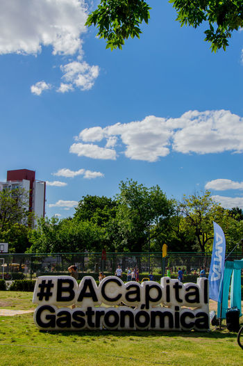 Buenos Aires 💙 GCBA Architecture Blue Buenos Aires Capital Gastronomica Cloud - Sky Communication Day Grass No People Outdoors Sky Text Tree
