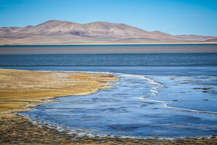 Arid Climate Beauty In Nature Clear Sky Day Desert Himalayan Range Landscape Mountain Mountain Range Nature No People Outdoors Physical Geography Salt - Mineral Salt Flat Scenery Scenics Sky Tibet Tranquil Scene Tranquility Transhimalayas Travel Water