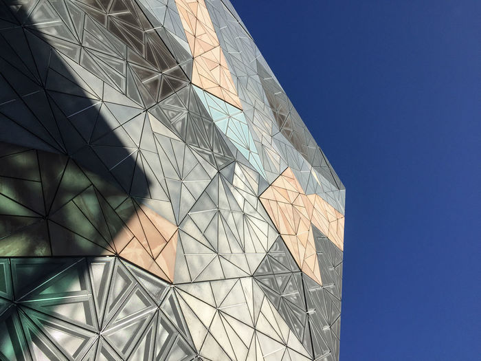 Architecture Architecture Blue Building Built Structure City Clear Sky Design Federation Square Geometric Shape Low Angle View Modern Pattern Shape Sky Sunlight The Architect - 2019 EyeEm Awards