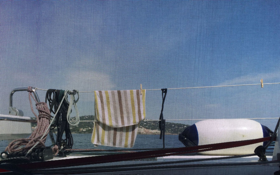 Buoy Close-up Curtain Day Drying Rack Full Frame Mooring Buoy On A Boat Ropes Sea Sky Sunny Through The Curtain Towel