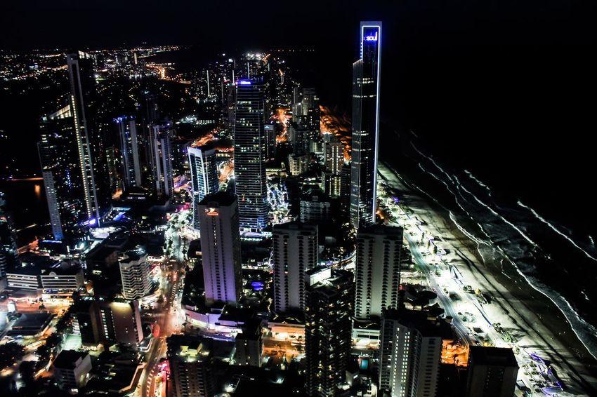 A Bird's Eye View City Surfers Paradise Night Lights Skyscraper
