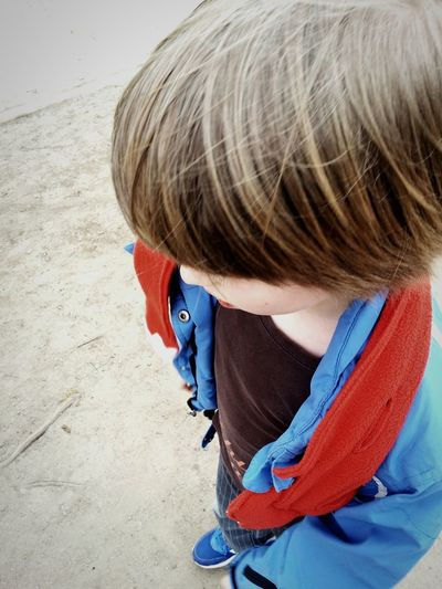 Child Boy Red Blue Hairy  Street Thinking